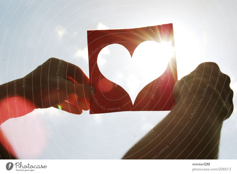 Sky Hand Red Sun Summer Love Emotions Heart Modern Symbols and metaphors Upward Heavenly Human being Reflection Nature Lust