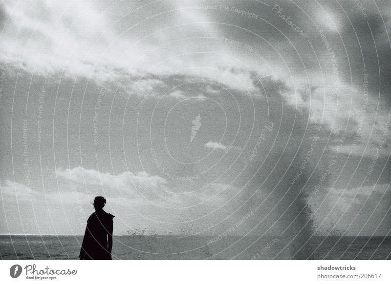 Man and Nature Far-off places Freedom Summer Ocean Human being 1 Environment Landscape Water Drops of water Sky Clouds Horizon Wind Gale Black & white photo