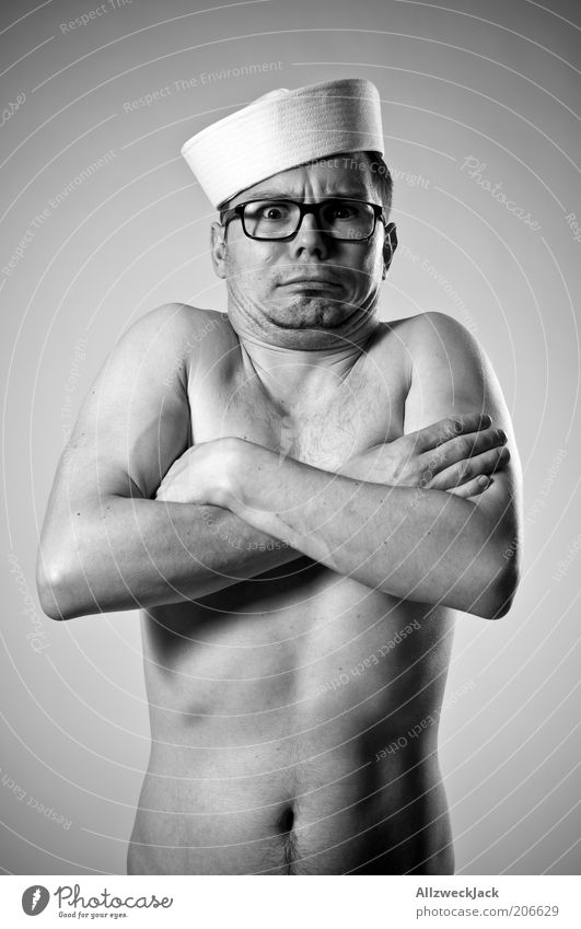 Human being Youth (Young adults) Naked Gray Body Adults Arm Masculine Closed Nude photography Eyeglasses Hat Symbols and metaphors Freeze Brunette