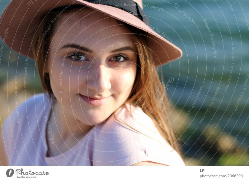 young girl with a hat Human being Youth (Young adults) Beautiful Joy Adults Life Lifestyle Senior citizen Emotions Style Feminine Hair and hairstyles Fashion