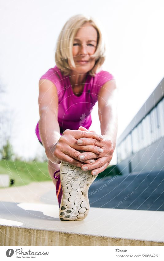 Pensioner stretching Lifestyle Elegant Style Leisure and hobbies Sports Fitness Sports Training Yoga Female senior Woman Hand Feet 60 years and older