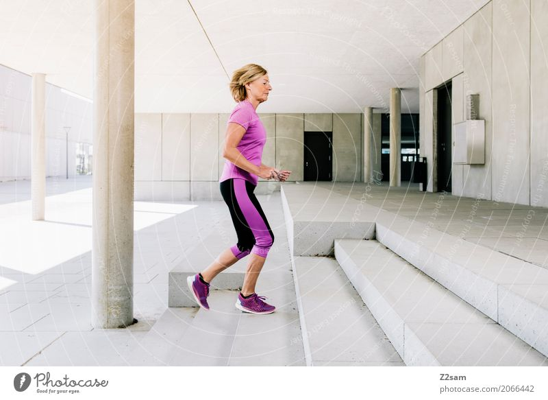 My career ladder is sausage. Lifestyle Style Fitness Sports Training Jogging Woman Adults Female senior 60 years and older Senior citizen Sunlight Summer