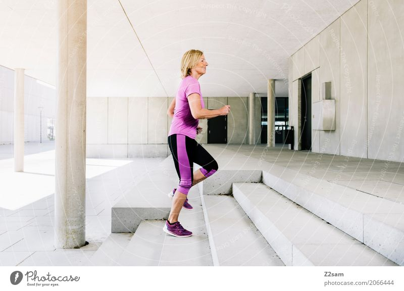 Woman Summer Town Beautiful Relaxation Adults Lifestyle Senior citizen Movement Sports Health care Contentment Modern Elegant Blonde Power