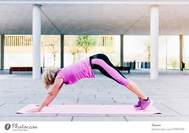 60 is the new 50 Lifestyle Leisure and hobbies Sports Fitness Sports Training Warming up Yoga Woman Adults Female senior 60 years and older Senior citizen Town