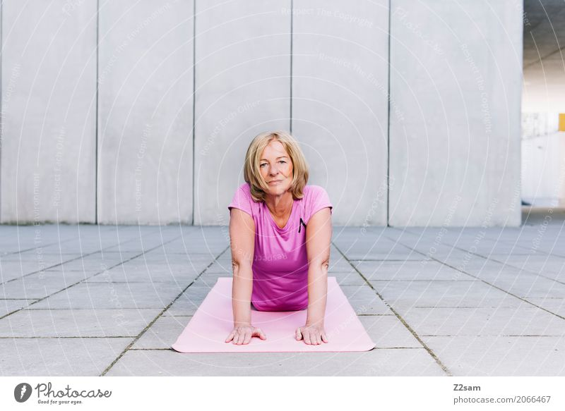yoga Lifestyle Sports Fitness Sports Training Yoga Woman Adults Female senior 45 - 60 years Town Blonde Relaxation Smiling Athletic Healthy Beautiful Modern
