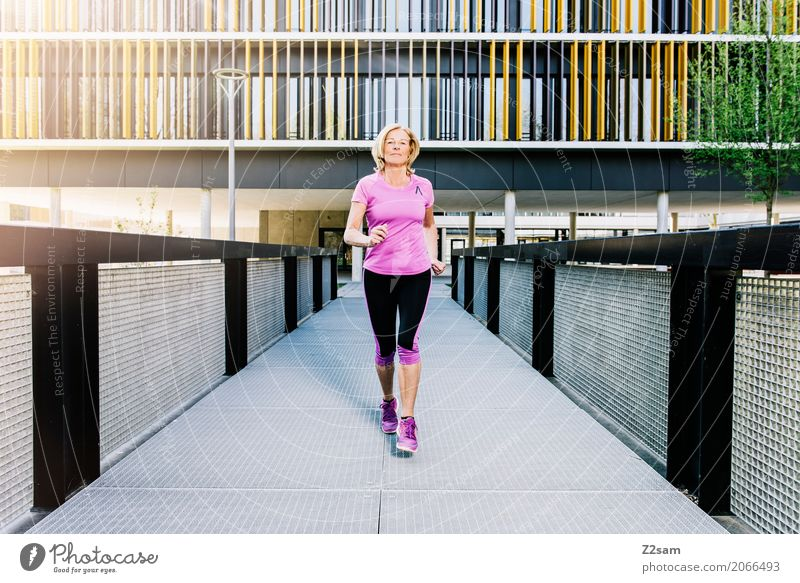 Running, always running Lifestyle Leisure and hobbies Sports Fitness Sports Training Jogging Woman Adults Female senior 60 years and older Senior citizen Sun