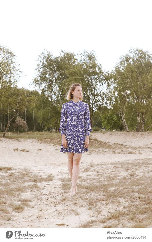 Young woman in summer dress on a dune Joy pretty Senses Relaxation Trip duene Heathland Youth (Young adults) Body Legs Feet 18 - 30 years Adults Environment
