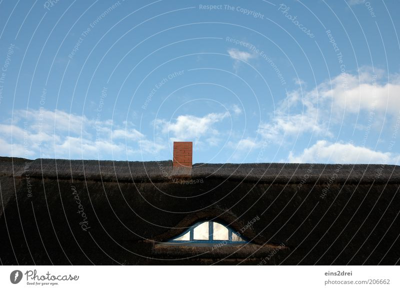 Sky Blue Summer House (Residential Structure) Clouds Style Above Window Brown Architecture Roof Beautiful weather Chimney Window pane Window arch