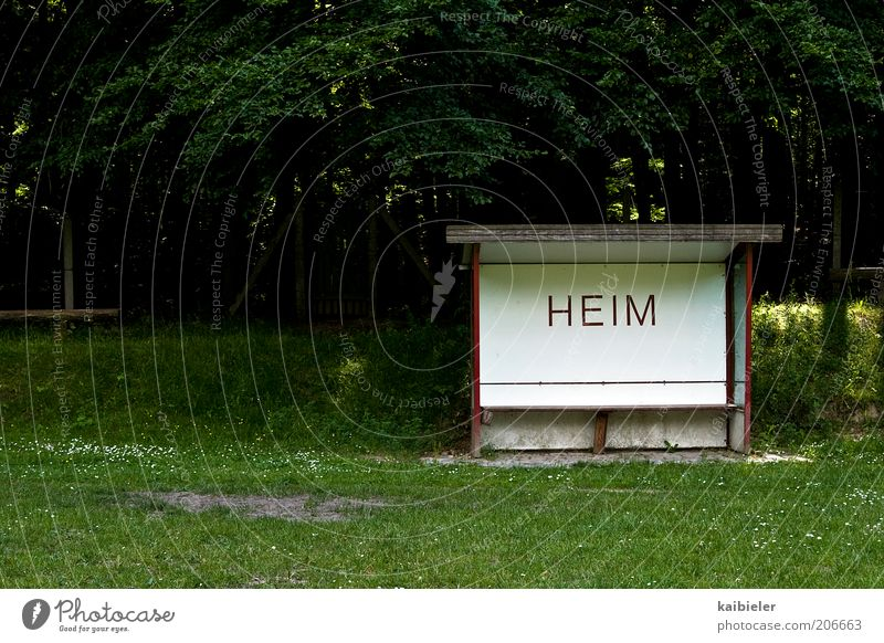 Green Sports Signs and labeling Retro Bench Characters Former Home country Football pitch Weather protection Homesickness Sporting grounds Ball sports Homey