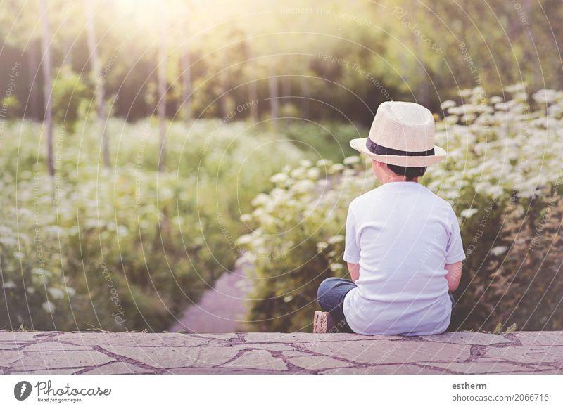 pensive child Lifestyle Joy Adventure Freedom Human being Masculine Child Toddler Boy (child) Infancy 1 3 - 8 years Nature Garden Park Hat Think Sit Cuddly