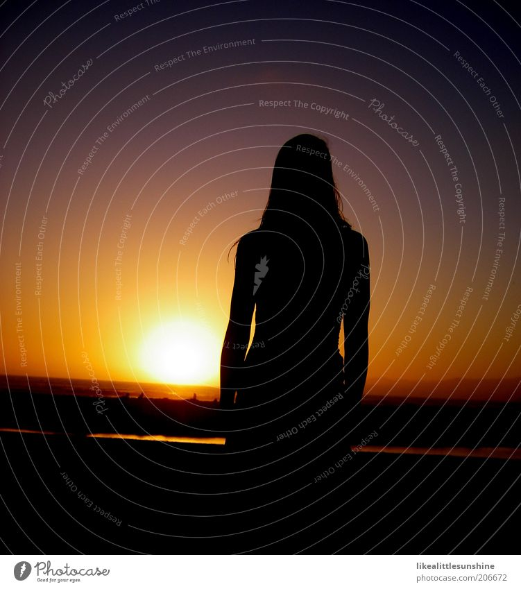Woman Human being Sky Red Black Adults Yellow Warmth Coast Horizon Stars Observe Violet Dusk Harmonious Sunset