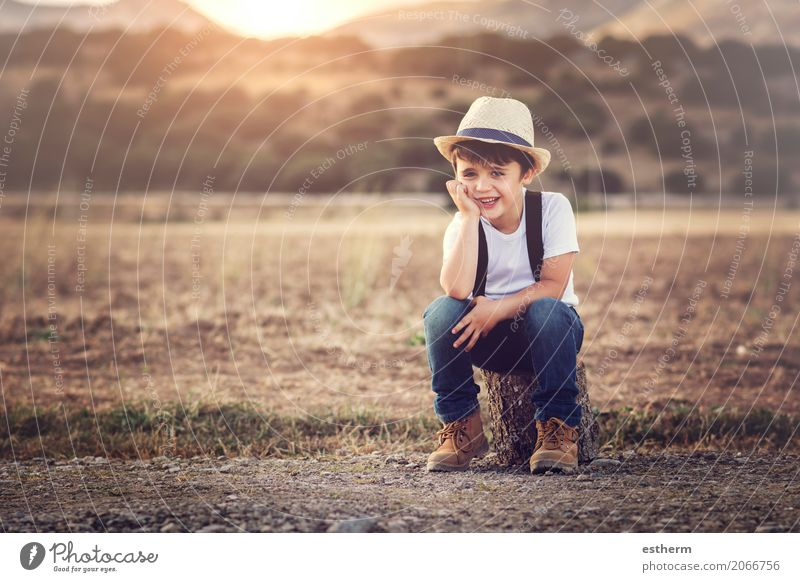 happy child Lifestyle Joy Children's game Human being Masculine Toddler Boy (child) Infancy 1 3 - 8 years Nature Spring Summer Meadow Field Hat Smiling Laughter