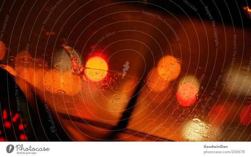 Red Dark Rain Orange Orange Wet Speed Traffic infrastructure Car Window Floodlight Vista Point of light Measuring instrument Flare Speedometer Dashboard