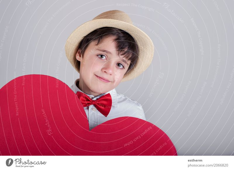 smiling boy with a red heart Lifestyle Joy Feasts & Celebrations Valentine's Day Mother's Day Human being Masculine Child Toddler Boy (child) 1 3 - 8 years