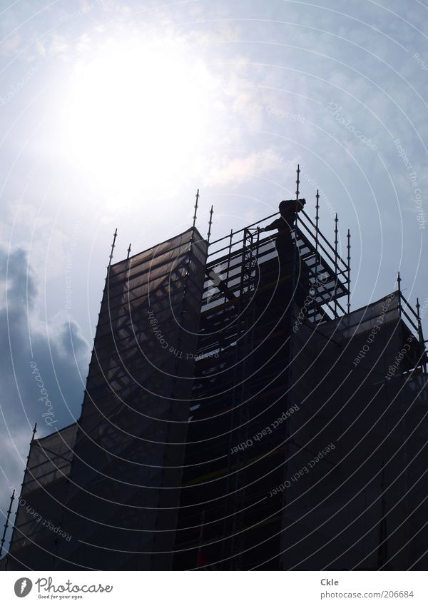 steadfast Construction site Sky Sun Beautiful weather Building Facade Unwavering Perspective Port of Hamburg Colour photo Exterior shot Day Shadow Contrast