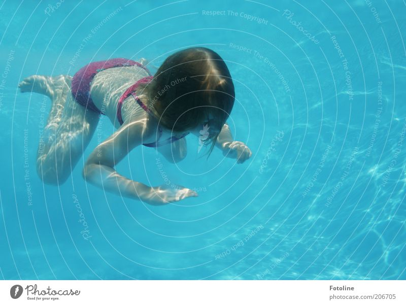 Human being Child Blue Hand Girl Head Hair and hairstyles Legs Bright Feet Infancy Back Leisure and hobbies Arm Swimming & Bathing Skin