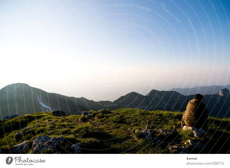 Human being Sky Nature Sun Summer Calm Far-off places Environment Landscape Mountain Warmth Stone Air Horizon Rock Back
