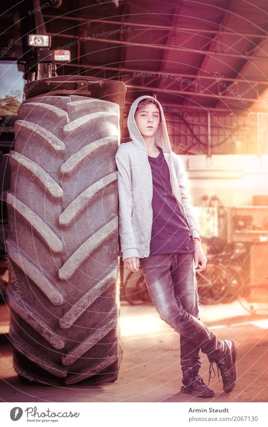 Portrait with tractor Lifestyle Luxury Style Design Calm Apprentice Profession Farm Farmer Industry Construction site Human being Masculine Young man