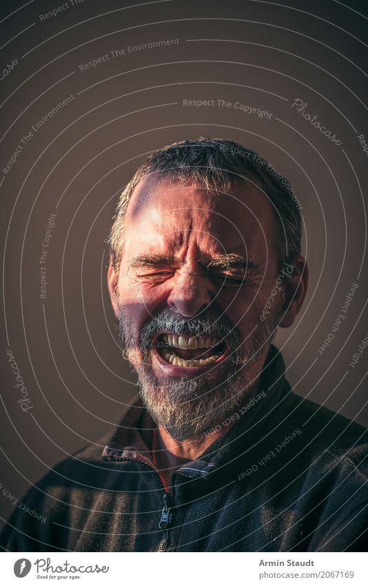 Portrait Lifestyle Style Human being Masculine Man Adults Senior citizen Head Face Eyes 1 45 - 60 years Short-haired Beard Scream Aggression Dark Creepy