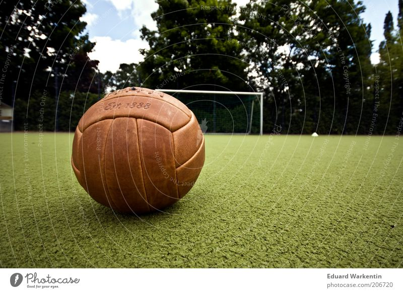 Back then Leisure and hobbies Ball sports Foot ball Sporting Complex Football pitch Historic Retro Goal Grass surface Playing field Old Brown Colour photo
