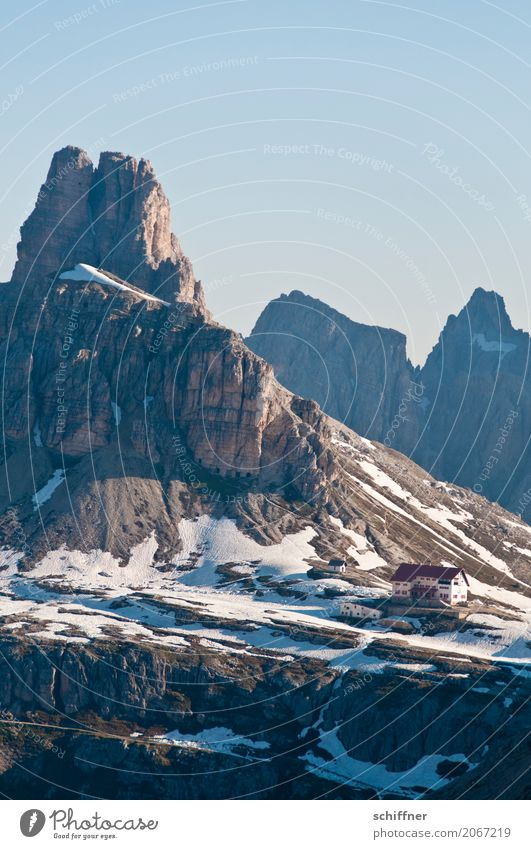 Nature Mountain Environment Spring Snow Exceptional Rock Ice Beautiful weather Peak Snowcapped peak Alps Frost Hut Canyon Wall of rock