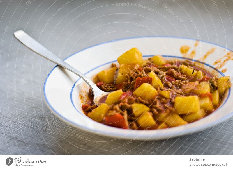 Red Yellow Gray Brown Nutrition Food Vegetable Plate Dinner Meat Lunch Cutlery Spoon Soup Pepper Potatoes