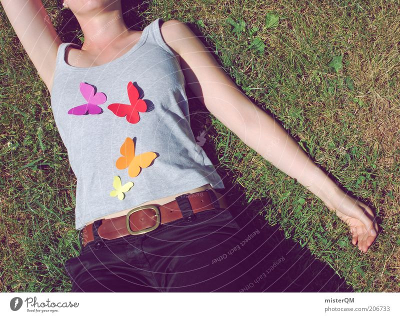 Woman Human being Green Summer Relaxation Meadow Emotions Grass Freedom Contentment Arm Modern Esthetic T-shirt Lie