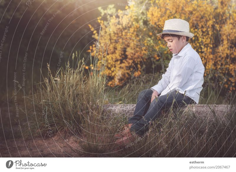 pensive child Human being Child Nature Summer Loneliness Forest Lifestyle Sadness Spring Autumn Love Emotions Boy (child) Garden Think Masculine