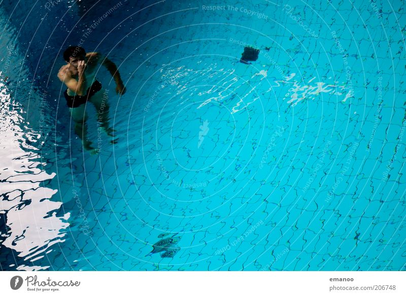 Human being Man Youth (Young adults) Blue Water Joy Adults Sports Freedom Air Waves Swimming & Bathing Masculine 18 - 30 years Swimming pool Dive