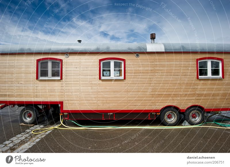 Sky Vacation & Travel Clouds Life Window Movement Freedom Wood Flat (apartment) Living or residing Wanderlust Circus Blue sky Caravan Carriage Parking space