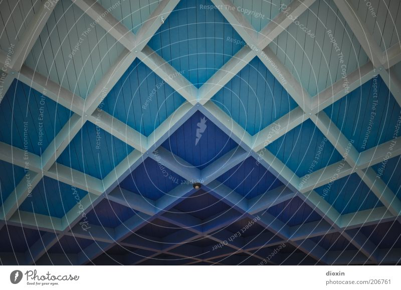White Blue Architecture Roof Square Stage Manmade structures Turquoise Ceiling Grid Roof beams Color gradient Pavilion Wooden ceiling Coffer ceiling