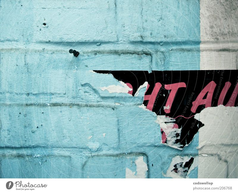 Old White Black Wall (building) Wall (barrier) Broken Letters (alphabet) Decline Poster Cyan Pattern Stick Magenta Light blue Stone wall