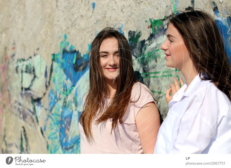 young girls talking and smiling Lifestyle Joy Beautiful Wellness Harmonious Well-being Contentment Senses Relaxation Leisure and hobbies Feasts & Celebrations