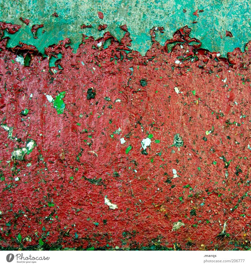 outline Wall (barrier) Wall (building) Facade Dirty Simple Trashy Green Red Colour Flake off Background picture Change Varnish Colour photo Abstract