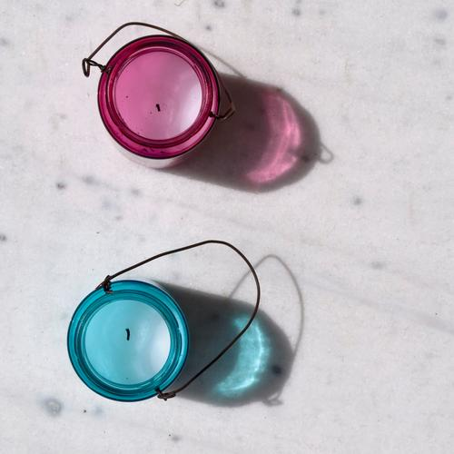 two Candle Candle holder Decoration 2 Baby blue Pink Cliche Masculine Carry handle Illuminate Tea warmer candle Round girl's color boy color Colour photo