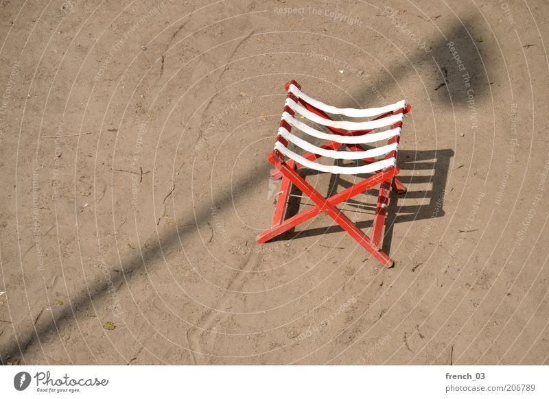 city holiday Chair Sand Sunlight Beautiful weather Beach Wood Brown Red White Contentment Relaxation Vacation & Travel Lantern Lamp post Free space Stripe