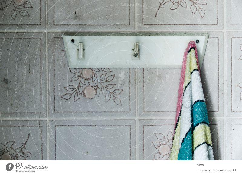 joie de vivre Plastic Hang Authentic Retro Stagnating Towel Towel hook Dish towel PVC Striped Colour photo Interior shot Tile Flowery pattern Detail Grubby Day
