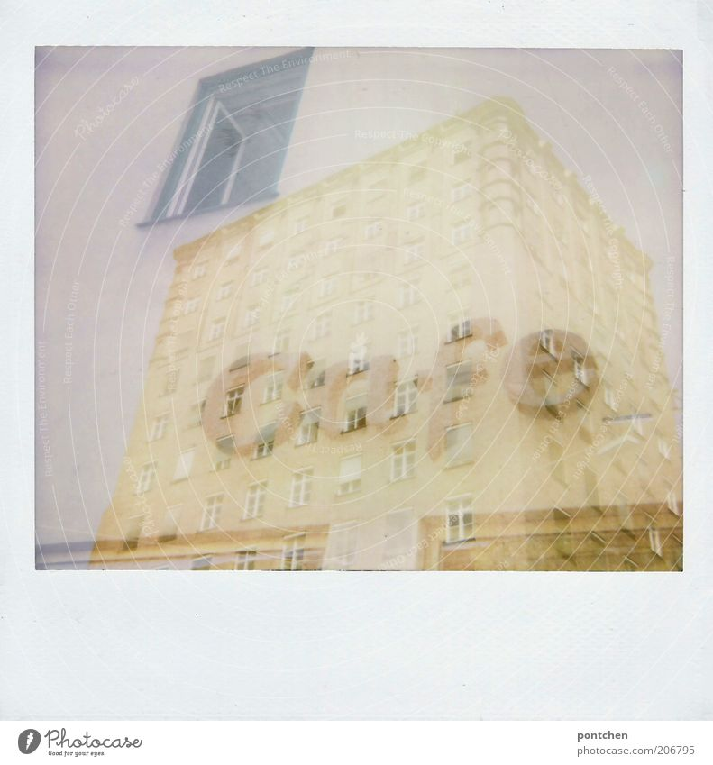 Polaroid double exposure. High-rise building and a café lettering House (Residential Structure) Café Double exposure Munich Manmade structures built