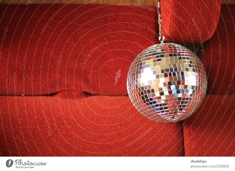 Red Glittering Small Round Disco Sphere Side Symbols and metaphors Seat Iconic Disco ball Bolster Suspended Decoration