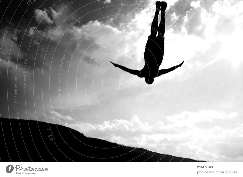 Lake Chiemsee into Lake Faakersee Sports Aquatics Human being Man Adults Arm 1 Landscape To fall Flying Jump Fantastic Black Black & white photo Exterior shot