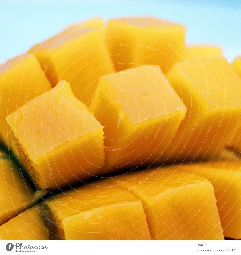 fresh mango Food Fruit Nutrition Organic produce Vegetarian diet Exotic Fresh Delicious Juicy Sweet Yellow Mango Tropical fruits Vitamin Part Cube