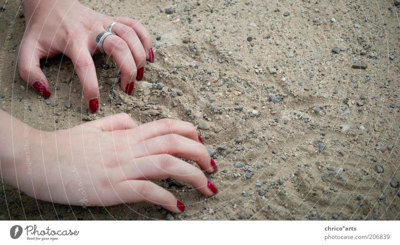 need help? Human being Feminine Woman Adults Skin Arm Hand Fingers Fingernail 1 Earth Sand Crawl Make Draw Under Gray Red Effort Colour photo Exterior shot