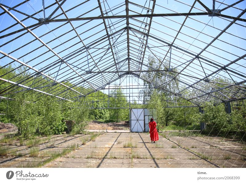 AST 10 | red on green under blue Feminine Woman Adults Human being Beautiful weather Plant Ruin Manmade structures Architecture Market garden Door Roof Dress