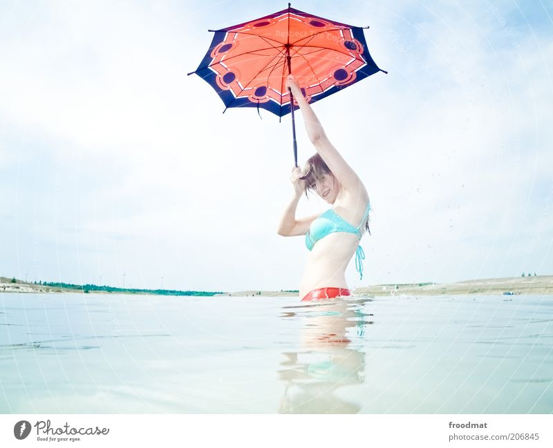 singin in the sunshine Human being Feminine Young woman Youth (Young adults) Woman Adults Nature Landscape Sky only Summer Beautiful weather Warmth Lakeside