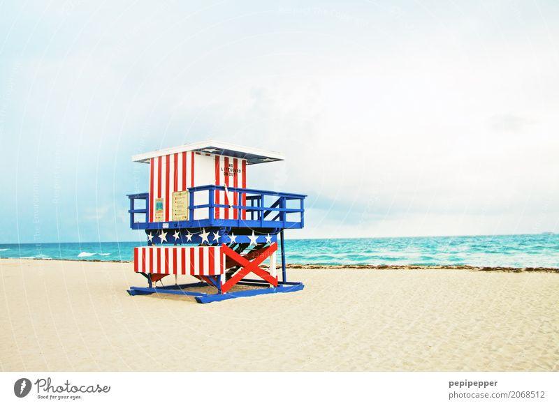Miami Work of art Sand Water Summer Waves Coast Beach Ocean USA Americas Facade Tourist Attraction Landmark Line Multicoloured