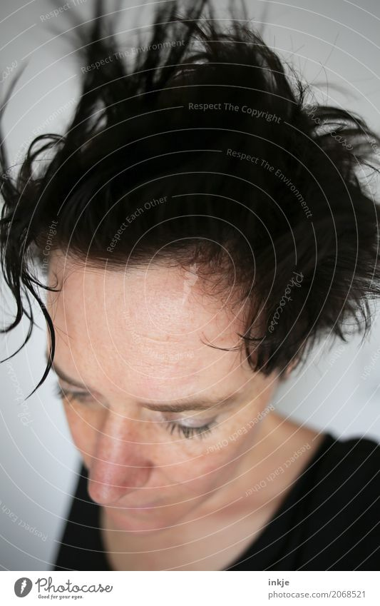 Woman with wet tousled hair Lifestyle Style pretty Hair and hairstyles Adults Head Face 1 Human being 30 - 45 years Black-haired Short-haired Mop of curls
