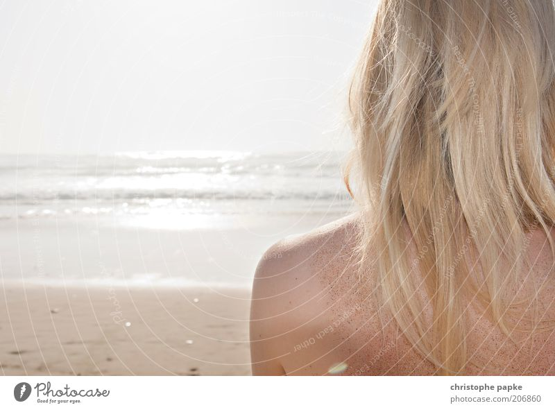 Human being Youth (Young adults) Beautiful Sun Ocean Summer Beach Vacation & Travel Relaxation Feminine Freedom Hair and hairstyles Head Sand Contentment Waves