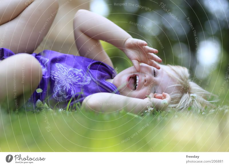 Human being Child Girl Joy Face Life Playing Movement Laughter Funny Infancy Healthy Blonde Arm Wild Happiness