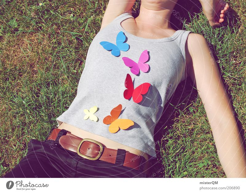 Woman Human being Youth (Young adults) Beautiful Summer Calm Love Relaxation Meadow Freedom Emotions Spring Contentment Lie Modern