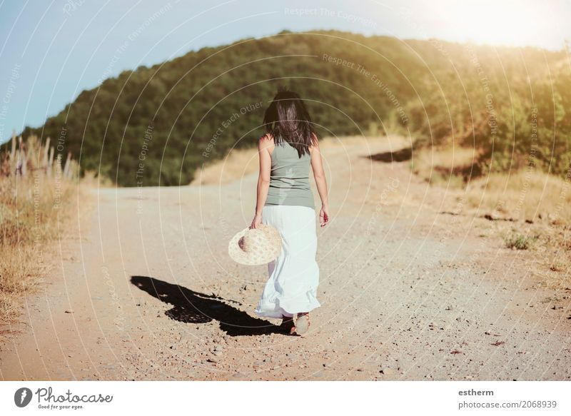 Back view of a woman walking to the field Human being Woman Vacation & Travel Youth (Young adults) Young woman Summer Beautiful Loneliness Adults Lifestyle Spring Feminine Freedom Think Trip Field